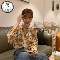 Xiaozhainv Kemeja Wanita dengan Bahan Sifon Motif Floral dan Bergaya