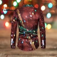 Natal 2Pcs Kaos T-Shirt Pria Lengan Panjang Slim Motif Santa Claus