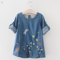 LC Dress Denim Casual Anak Perempuan Bordir Kupu-Kupu untuk Musim