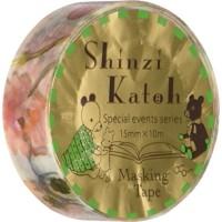 SEAL-DO Shinzi Katoh Washi Masking Tape, 15mm x 10m, Rose & Black Cat