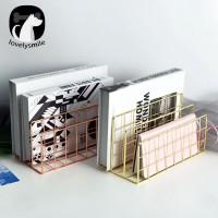 (L) 3 Layers Iron Book Magazine Document Storage Shelf Stand