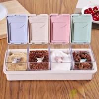 F▷◁4 Grid Plastic Wheat Straw Flip Drawer Type Spice Jar