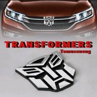 EMBLEM TRANSFORMERS AUTOBOTS LOGO CHROME SILVER 8.5 X 8.5 CM STIKER