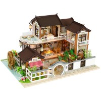Terlaris DIY Dollhouse Miniature Doll House Furniture Kit LED Kids