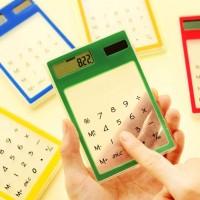 Kalkulator Portable Layar Sentuh LCD 8 Digit Tenaga Surya Transparan