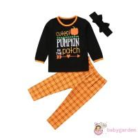 B.A-Halloween Kids Baby Girls Plaid Top Long Pants Headband 3Pcs