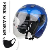 Helm Half Face YCN CR Cargloss Visor Hardcoat - Blue Met C