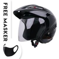 Helm Cargloss YD CR Double Visor half face - Deep Black