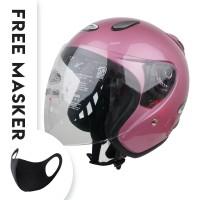 Helm Half Face YCN CR Cargloss Visor Hardcoat - Powder Pink