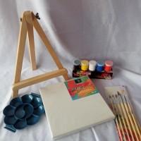 Paket Melukis Kanvas/Mini easel/cat lukis/Kuas/Palet
