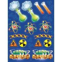 Sticker Tema Mad Scientist - Perlengkapan Pesta Ulang Tahun
