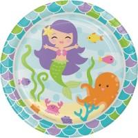"Piring Kertas 9"" Tema Mermaid Friend - Pesta Ulang Tahun"