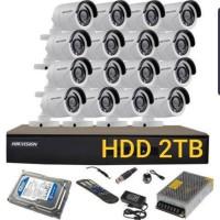 PAKET CCTV 16 CHANNEL HIKVISION 2MP 1080P FULL OUTDOOR TANPA KABEL