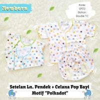 3 Setel Baju Bayi Lengan Pendek Celana Pop Bayi Baby motif Polkadot
