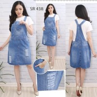 Real Picture Big Size Over All Rok Jeans Pendek Wanita #055