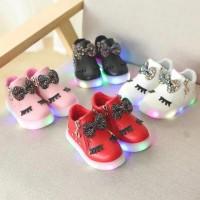 Sepatu Sneakers LED Anak Perempuan pita alis gliter import murah