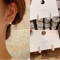 ANTING TUSUK KOREA SIMPLE PESTA MUTIARA PEARL GOLD BLINK S925 J0118