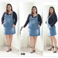 Baju Overall Jumsuit Dress Rok Kodok Jean Super Jumbo Big Size 5XL 6XL