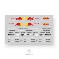 Decal white toner red bull mad mike universal untuk hotwheels,tomica