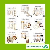 6 Pasang / Set Anting Tusuk Bentuk Lingkaran Aksen Mutiara + Rumbai