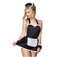 L-1070 - French Maid Apron Backless Lingerie Costume