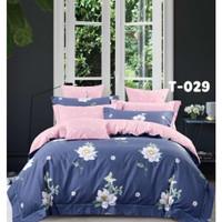 Sprei katun jepang motif bunga putih biru 180x200x30 cm