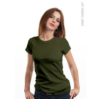 KAOS T-SHIRT POLOS COTTON COMBED 28s CEWEK LADIES