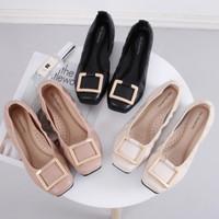 Flat Shoes Wanita Gio Saverino OSLO Loafers Empuk Sepatu Balet - BLACK, 35