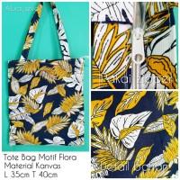 Tas Totebag Kanvas, uk 35x40 motif flora custom 1