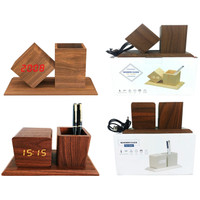 Jam Weker Alarm LED Digital Wood Watch Meja Motif Kayu Tempat Pensil