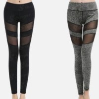 PANACHE - Sport Fitness Sexy Leggings / Yoga Pants with Mesh Panel