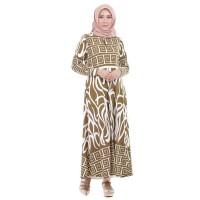 Gamis Muslimah Dewasa Allsize Warna Coklat Motif Batik