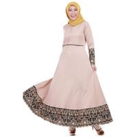 Gamis Muslimah Dewasa Bahan Balotely Warna Coklat Muda Motif Cantik