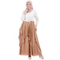 Gamis Muslimah Dewasa Warna Coklat Kombinasi Bahan Katun Size M-XXL
