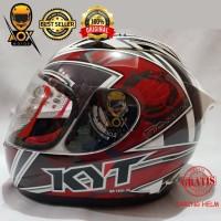 Helm KYT RC 7 Motif 10 White Red, GRATIS Jaring Helm