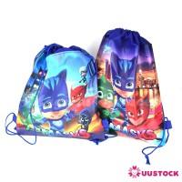 Cartoon PJ Mask Drawstring Backpack Non-Woven Fabric Party Loot Bag