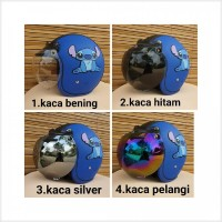 Produk Terlaris helm bogo dewasa gambar stitch warna biru tua hitam