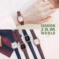 Pria Couple Watch Jam Tangan Quartz Dial Kotak Kecil Strap Kulit
