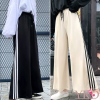 Pants Fashion Simple High Waist Solid Color Side Stripe Wide Leg