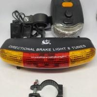 Lampu Sepeda Rem Sein Kiri Kanan 7 LED + Klakson - XC-407 - Black