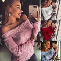 Sweater Rajut Wanita Off Shoulder Sabrina Lengan Panjang untuk Musim