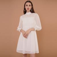 EDITION WOMEN ED80WHITE Long Sleeve Chiffon Dress