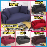 Cover Sofa Polos 2 Seater Sarung Penutup Sofa Bed Import Elastis