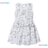 Gaun Anak Perempuan Dress Cewek Import Murah Fashion 1 2 3 4 5 6 Tahun - Putih, Size 90