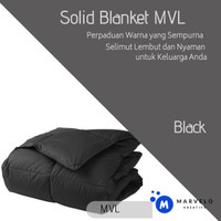 Selimut Bed Cover Polos Lembut Tanpa SPREI Set - Navy, Single