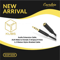 KUBS Audio Extension Cable AUX Male to Female 1.2m 3 Garis bisa MIC