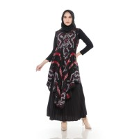 Qaireen Moez - Dhea Outer Dress Black Maroon - All Size