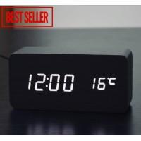 Jam Meja Kayu LED digital Alarm clock wood with temperature and date