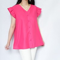 Audrey Cotton Blouse in Pink Barbie