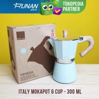 Gnali & Zani Italy Mokapot 6 cup 300ml Biru - Moka Pot Espresso Maker